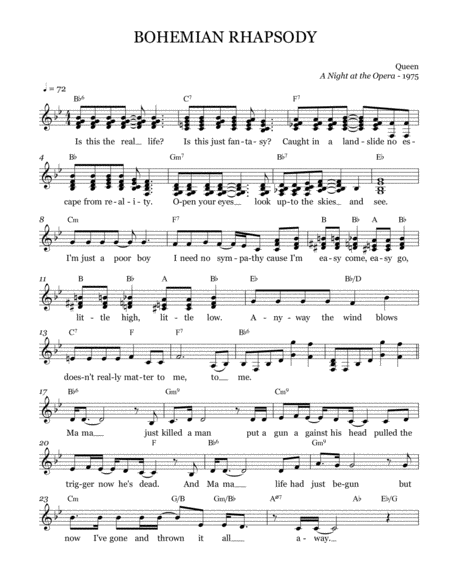 Bohemian Rhapsody Leadsheet Melody Notated