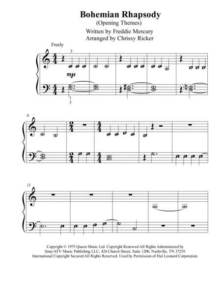 Bohemian Rhapsody Opening Themes Pre Reading Piano With Note Names