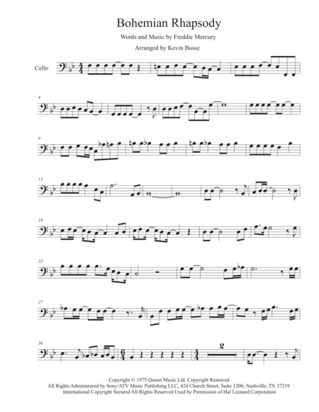 Bohemian Rhapsody Original Key Cello
