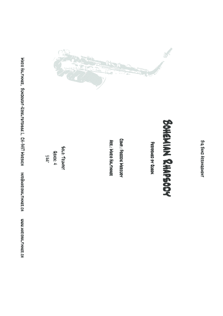 Bohemian Rhapsody Queen Comp Freddie Mercury Jazz Ensemble Score Only