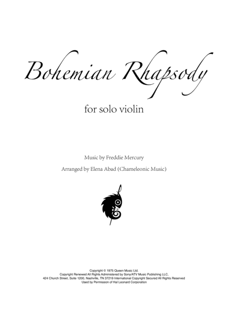 Bohemian Rhapsody Solo Violin Arrangement By Elena Abad Advanced