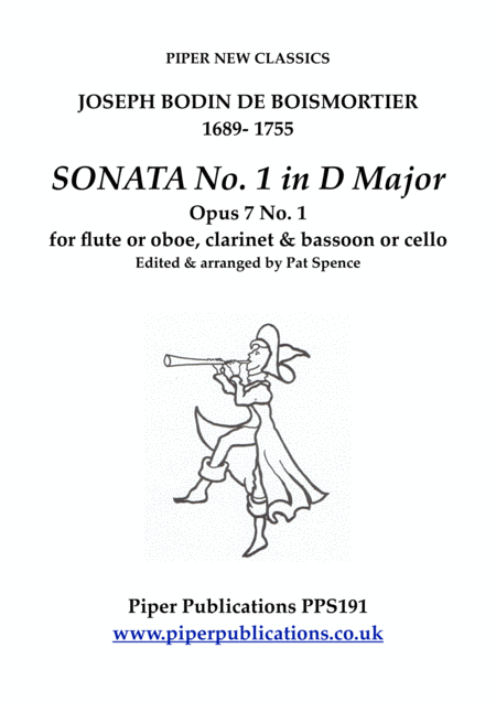 Boismortier Sonata In D Minor Opus 7 No 4 For Flute Or Oboe Clarinet Bassoon Or Cello