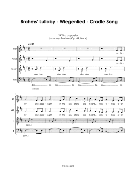 Brahms Lullaby Cradle Song Wiegenlied A Cappella