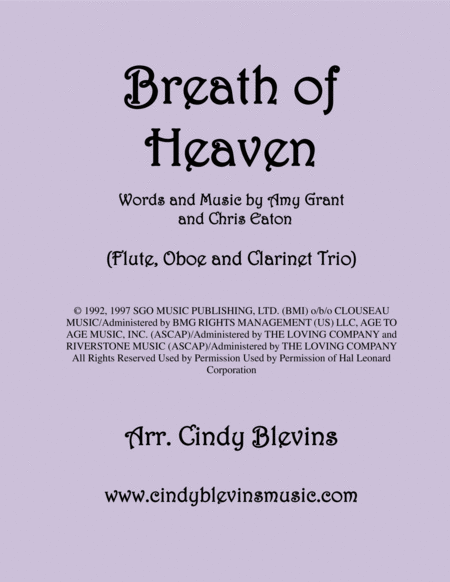 Breath Of Heaven Marys Song Arranged For Flute Oboe And Bb Clarinet