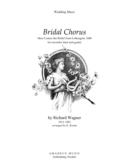 Bridal Chorus Here Comes The Bride For Recorder Duet And Guitar