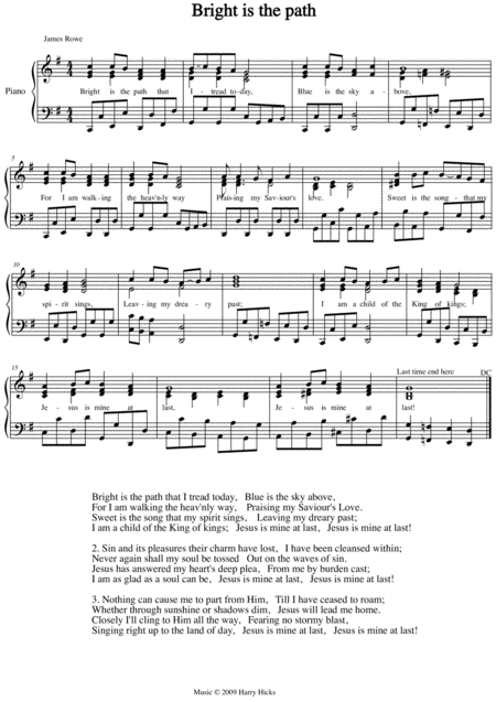 Bright Is The Path A New Tune To A Wonderful Old Hymn