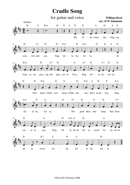 Byrds Cradle Song Simple Version For Alto Voice With Guitar Chord Names
