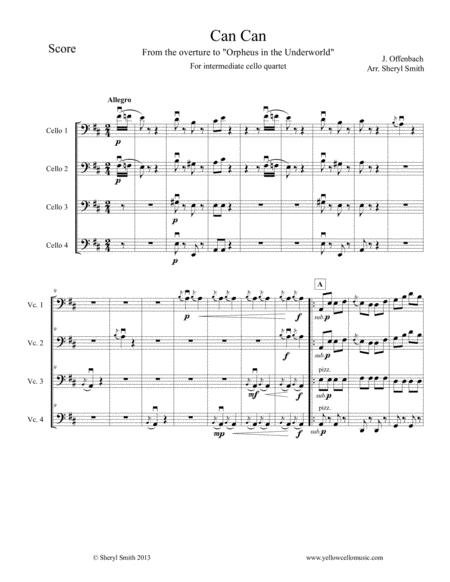 Can Can For Intermediate Cello Quartet Four Cellos From Orpheus In The Underworld