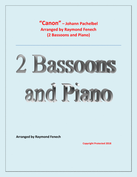 Canon Johann Pachebel 2 Bassoons And Piano Intermediate Advanced Intermediate Level