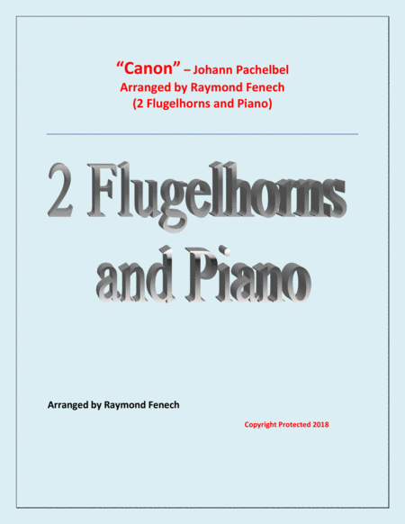 Canon Johann Pachebel 2 Flugelhorns And Piano Intermediate Advanced Intermediate Level