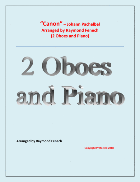 Canon Johann Pachebel 2 Oboes And Piano Intermediate Advanced Intermediate Level