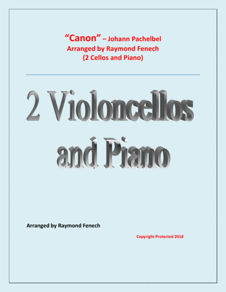 Canon Johann Pachelbel 2 Cellos And Piano Intermediate Advanced Intermediate Level