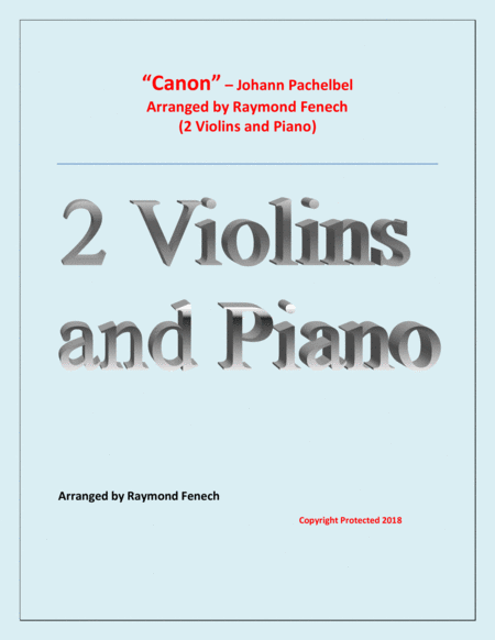 Canon Johann Pachelbel 2 Violins And Piano Intermediate Advanced Intermediate Level