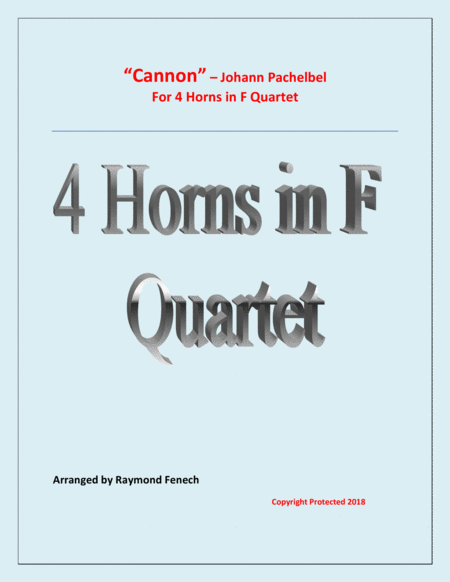 Canon Johann Pachelbel 4 Horns Quartet Intermediate Advanced Intermediate Level