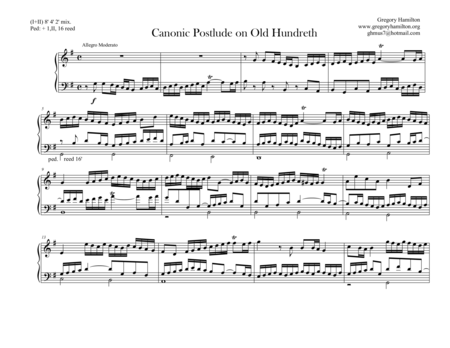 Canonic Postlude On Old Hundreth