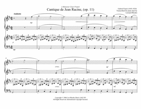 Cantique De Jean Racine Gabriel Faur For Piano Duet Four Hands One Piano