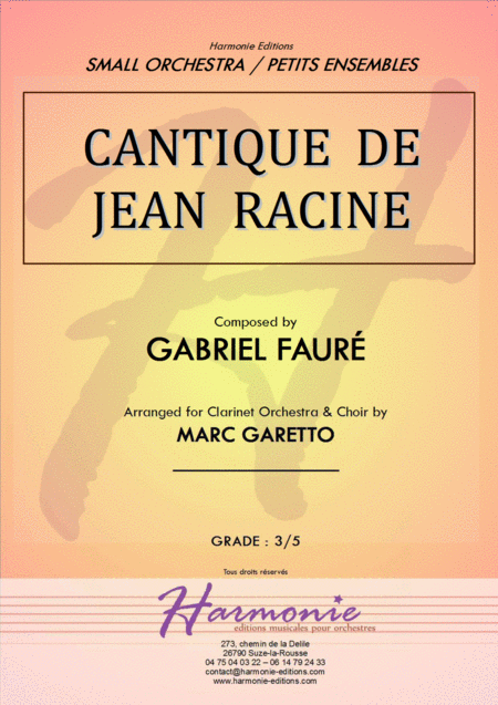 Cantique De Jean Racine Gabriel Faure For Clarinet Ensemble
