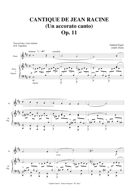 Cantique De Jean Racine Op 11 G Faur Arr For Flute Satb Choir And Piano