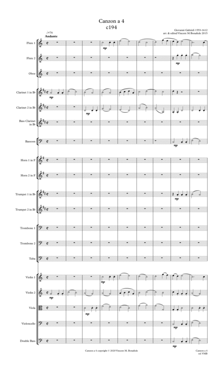 Canzon A 4 By Giovanni Gabrieli For Full Community Orchestra