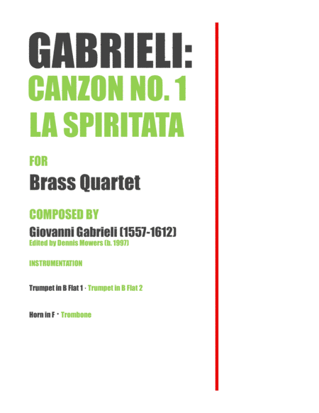 Canzon No 1 La Spiritata For Brass Quartet Giovanni Gabrieli