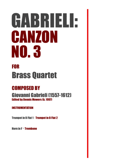 Canzon No 3 For Brass Quartet Giovanni Gabrieli