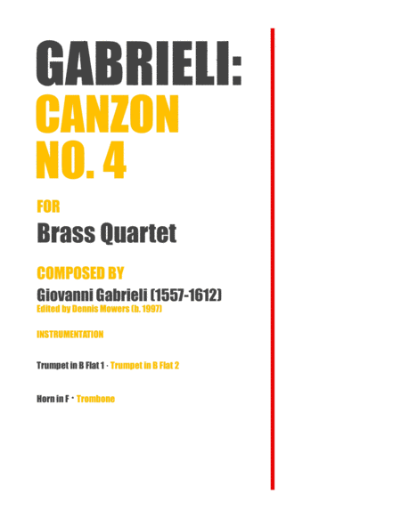 Canzon No 4 For Brass Quartet Giovanni Gabrieli