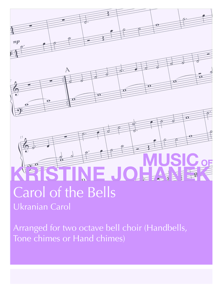 Carol Of The Bells Ukranian Carol 2 Octave Handbells Tone Chimes Or Hand Chimes