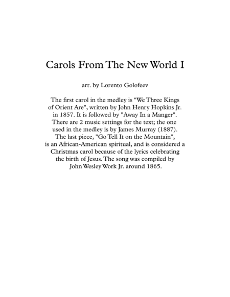 Carols From The New World I A Medley Of 3 Us Christmas Carols For String Quartet