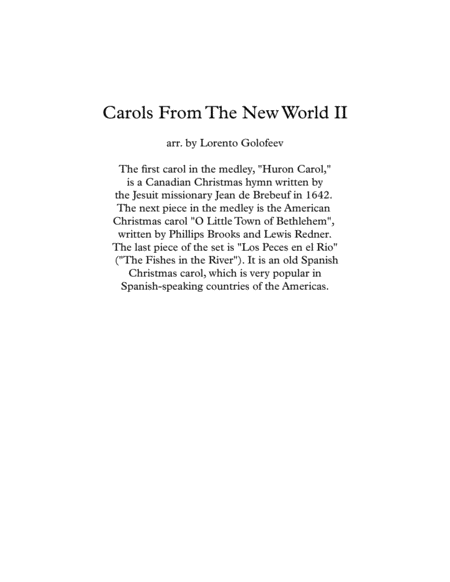 Carols From The New World Ii A Medley Of A Canadian Us And Spanish Latin American Christmas Carols For String Quartet