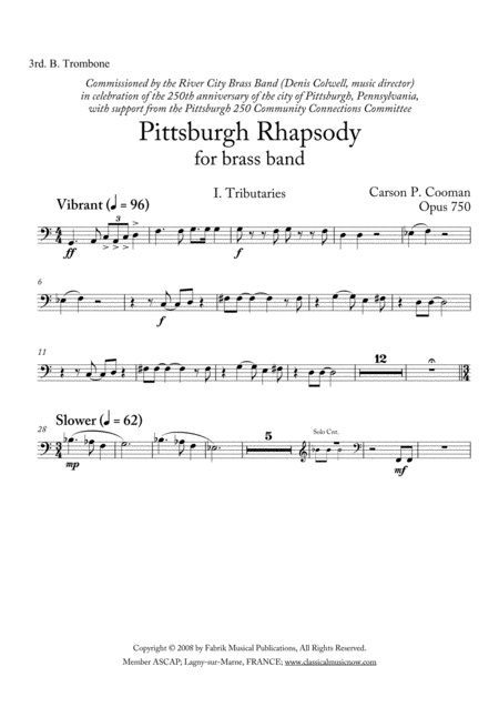 Carson Cooman Pittsburgh Rhapsody 2008 For Brass Band 3rd Bass Trombone Part