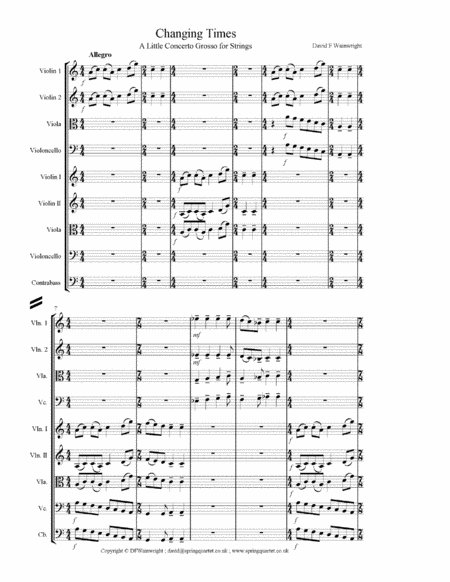 Changing Times For String Quartet And String Orchestra Score Parts And Mp3