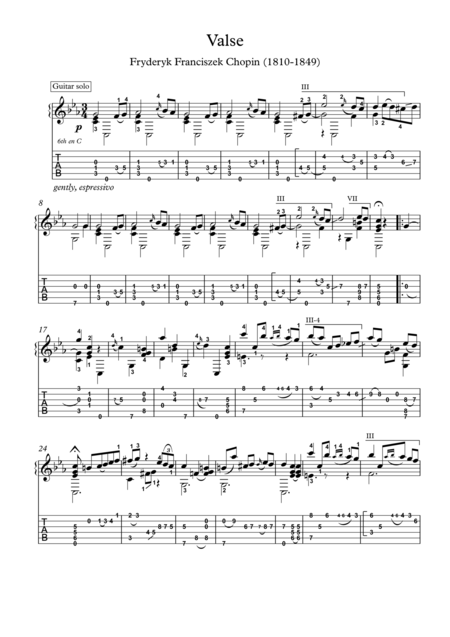 Chopin Grande Valse Brillante Op 34 No 2 Guitar Solo With Tablature