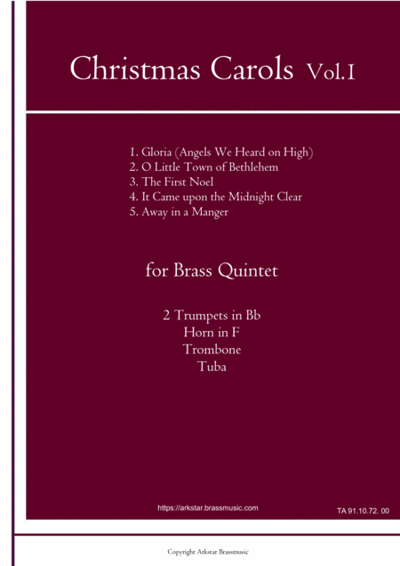 Christmas Carols For Brass Quintet Vol 1 5 Christmas Carols