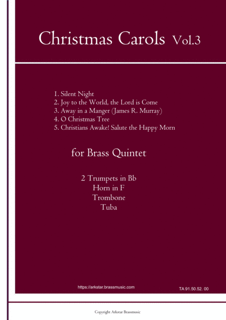 Christmas Carols For Brass Quintet Vol 3 5 Christmas Carols