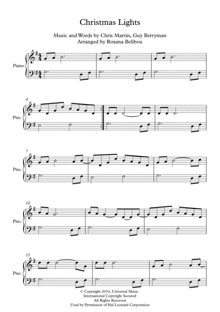 Christmas Lights By Coldplay Easy Piano Free Music Sheet Musicsheets Org