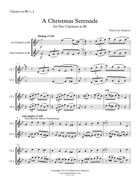 Christmas Serenade For Two Clarinets A Christmas Medley Of Songs