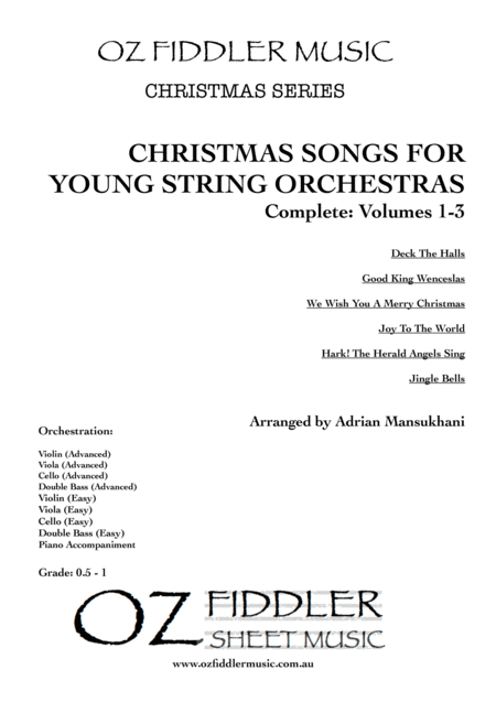 Christmas Songs For Young String Orchestras Complete Volumes 1 3 Mixed Difficulties