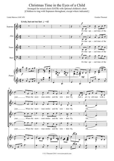 Christmas Time In The Eyes Of A Child Version For Mixed Choir Satb With Optional Childrens Choir