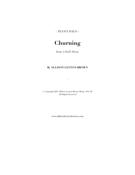 Churning Piano Solo By Allison Leyton Brown