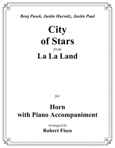 City Of Stars From La La Land For Horn With Piano Accompaniment