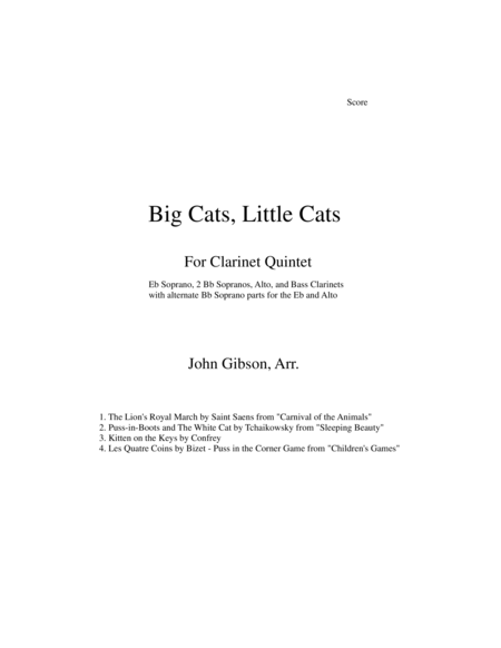 Clarinet Quintet Big Cats Little Cats