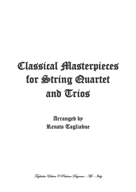 Classical Masterpieces For String Quartet And Trios Look Inside