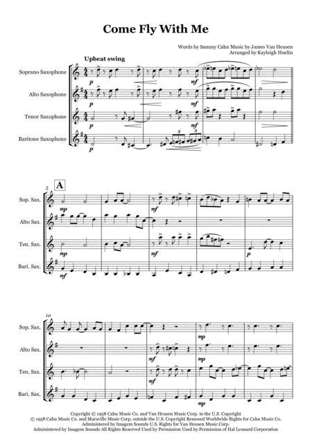 Come Fly With Me By Frank Sinatra Saxophone Quartet Satb