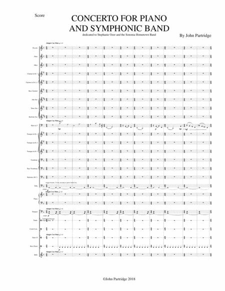 Concerto For Piano And Symphonic Band Full Score