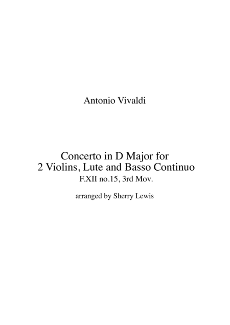 Concerto In D Major For 2 Violins Lute And Basso Continuo F Xii No 15 3rd Mov String Duo For String Duo