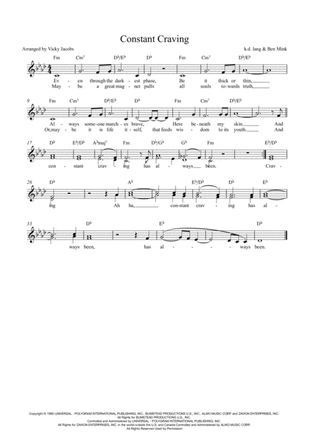 Constant Craving Lead Sheet For Singalongs