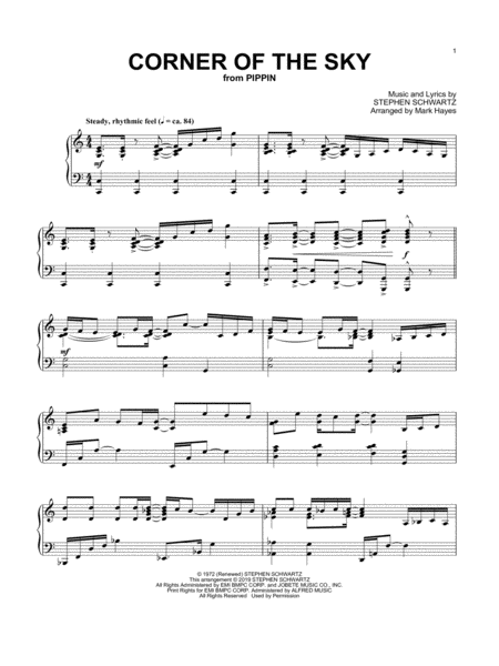 Corner Of The Sky From Pippin Arr Mark Hayes