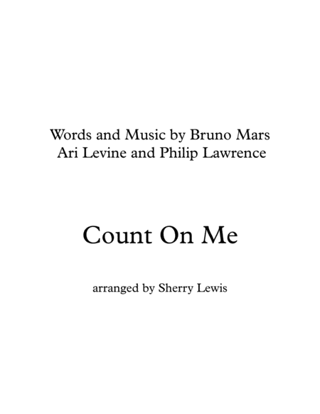 Count On Me Bruno Mars String Quartet For String Quartet