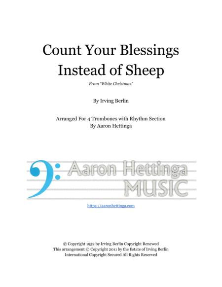 Count Your Blessings Instead Of Sheep Head Chart For Trombone Quartet And Rhythm Section