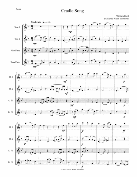 Cradle Song For Flute Quartet